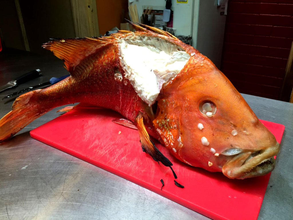perfectly cooked king snapper